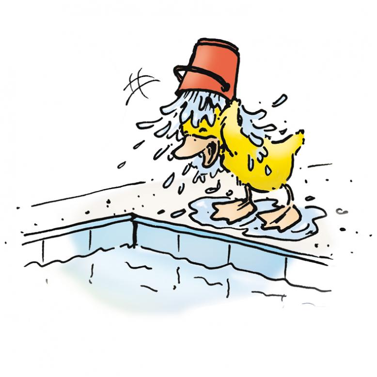 Bade-Ente duscht