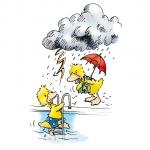 Ente geht bei Gewitter aus dem Wasser