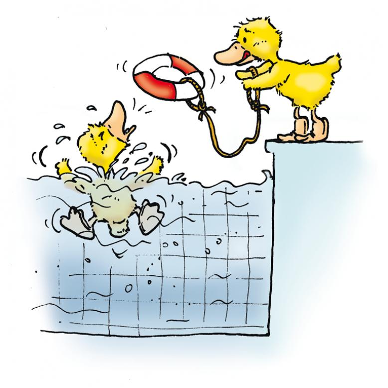 Ente ruft um Hilfe