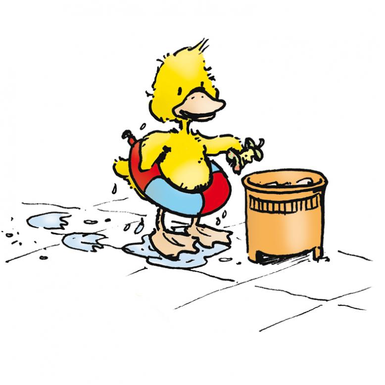 Ente hebt Müll auf.