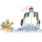 Bild von einem Schiff, das an einer Ente vorbei fährt.