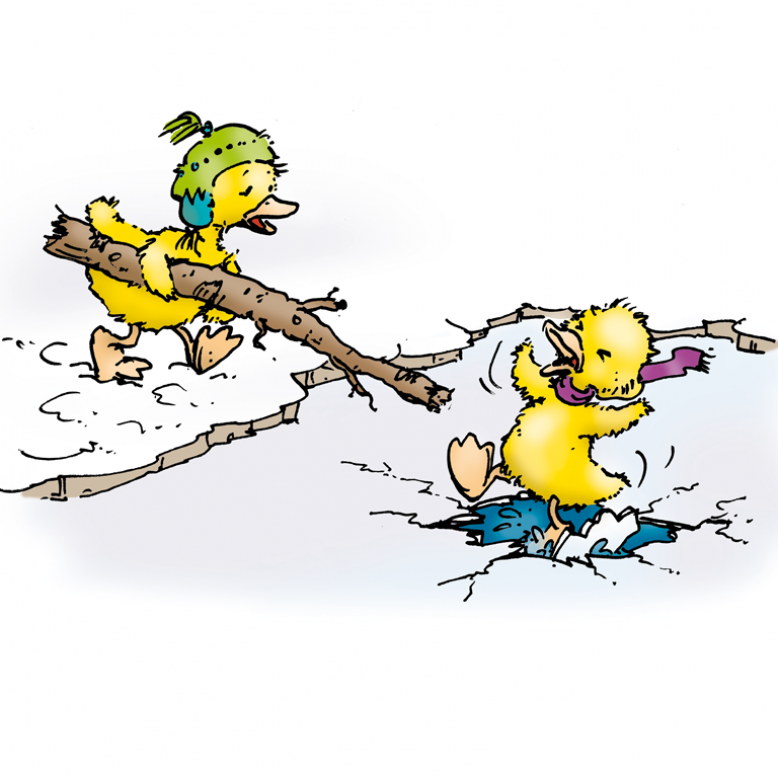 Eine Ente bricht ins Eis ein und eine andere reicht ihr einen Stock an