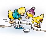 Ente misst die Eisdicke