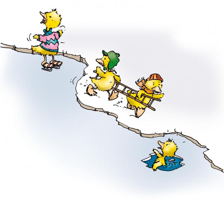 Zwei Enten hefen einer eingebrochenen Ente mit einer Leiter