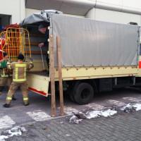 Feuerwehrleute beladen einen DLRG Bt-LKW